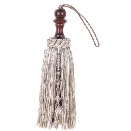 Pompon gris clair avec perles et bois foncé