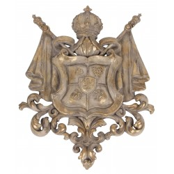 Wall coat of arms is made of polyresin and has a beige vintage color with golden details