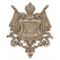 Wall coat of arms wtih crown is made of polyresin and has a beige vintage color with golden details