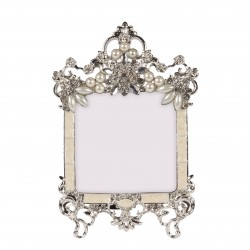 Silver coloured photo frame with pearls, rhinestones and cream colored email