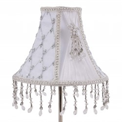 White round clip-on lamp shade made of silk and organza with hand beaded ornaments, trims and embroidery