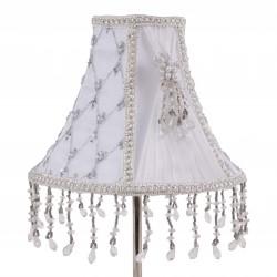 Abat-jour blanc rond à pince en soie et organza avec perles