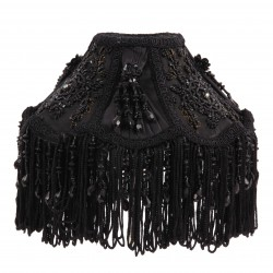 Round clip-on lamp shade of silk and taft and ornaments, fringes and beads