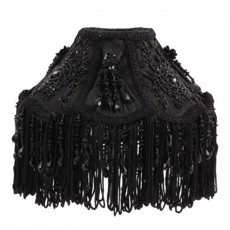 Abat-jour à clip noir en soie et tafta avec franges et perles