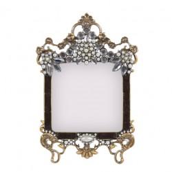 Cadre photo couleur or avec perles, strass et email couleur noir