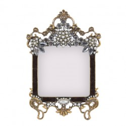Gold coloured photo frame with pearls, rhinestones and black colored email