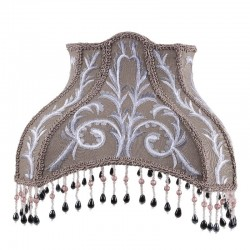 White and silver embroidered gray rectangular lampshade with beaded fringes