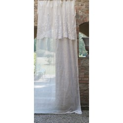 Embroidered linen curtain Ancora Collection with valance and knots 140 x 290