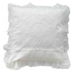 Coussin Porcelaine blanc en lin 45x45