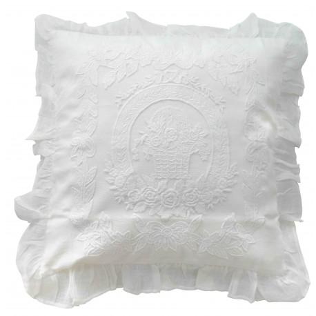White linen cushion Porcelaine 45x45 cm