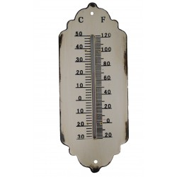 Cream colored metal thermometer