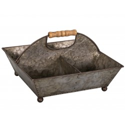 Zinc basket with 4 compartments with wooden handles