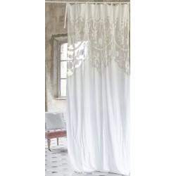 Rideau Arabesque blanc à nouettes 140 x 290 cm