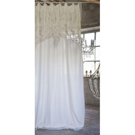 Rideau Almond ecru 140 x 290 cm a nouettes