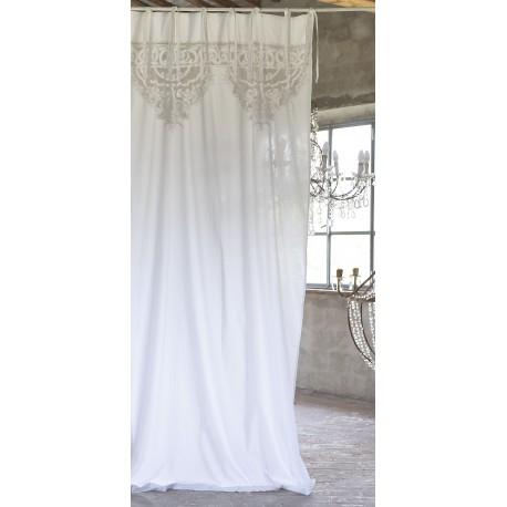 Rideau Anse blanc 140 x 290 cm a nouettes