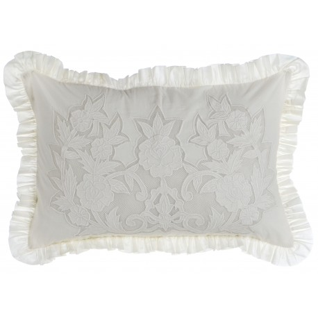 Coussin rectangulaire brode Buttercup ecru 30 x 50 cm