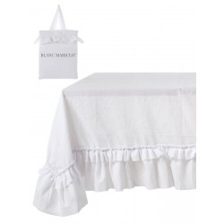 Table cloth with ruffles Eterna White 150 x 300 in microfiber