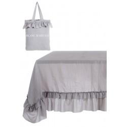 Nappe blanche à volants Eterna White 150 x 220 en microfibre