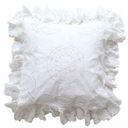 White cushion Falbala 45x45 cm