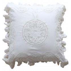 Taie d'oreiller Falbala blanche 60 x 60 cm