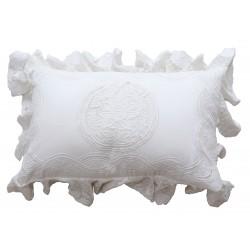 Coussin rectangulaire Falbala blanc en coton 30 x 45 cm