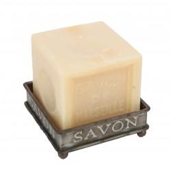 Porte-savon carré en zinc sur pieds