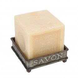 Zinc square soap dish on feet