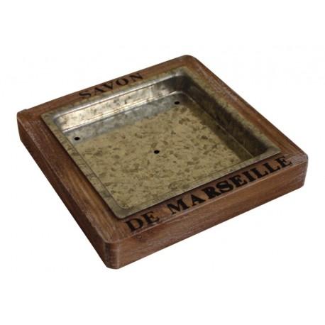 """Zinc square soap dish """"Savon de Marseille"""""""