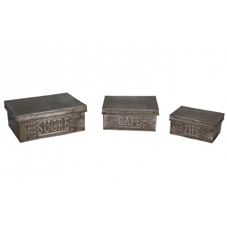 Set of 3 zinc boxes Sucre / Café / Thé