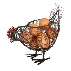 Iron egg holder in the shape of a small hen