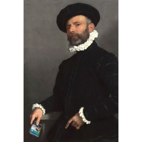 Portrait de l'homme au Smartphone 30 x 40 cm