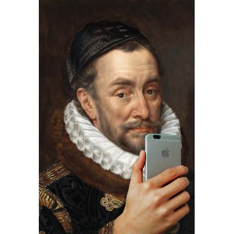 Portrait of the man with an iPhone 30 x 40 cm