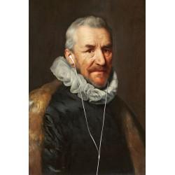 Portrait du vieil homme aux écouteurs 30 x 40 cm