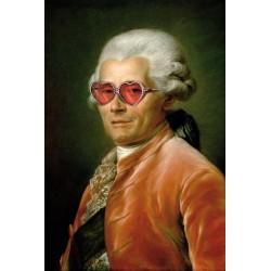 Portrait de l'homme aux lunettes coeur 30 x 40 cm