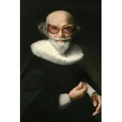 Portrait de l'homme aux lunettes tigrées 30 x 40 cm