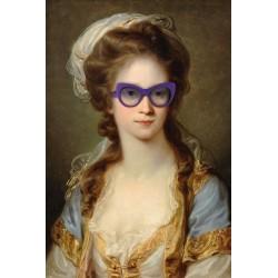 Portrait de la demoiselle aux lunettes violettes 30 x 40 cm