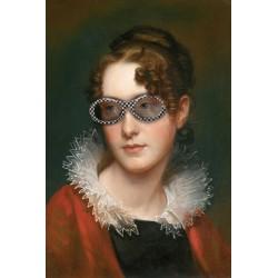 Portrait de la demoiselle demoiselle aux lunettes de soleil à damiers 30 x 40 cm