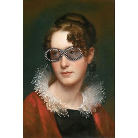 Portrait of the lady with purple sunglasses 30 x 40 cm