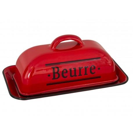 Beurrier émaillé rouge « Beurre »