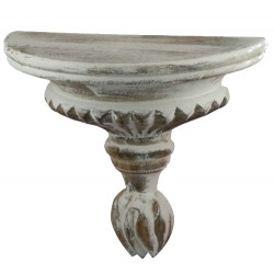 Half round carved shelf with antique white stripes