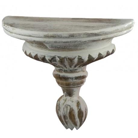 Étagère demi rond sculptée à galons blanc antique