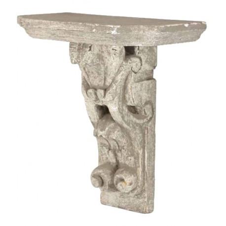 Étagère sculptée « C » blanc antique