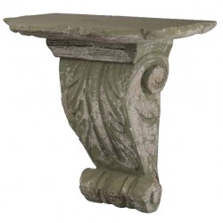 Carved shelf antique gray olive leaves