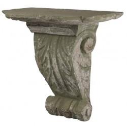 Étagère sculptée feuilles d'olivier gris antique