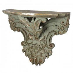 Carved flower shelf with 4 antique gray petals