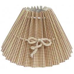 Abat-jour rond beige à petits carreaux Ø 40 cm avec lien pour noeud