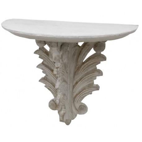 Étagère demi rond blanc antique à trois piliers sculptée de feuilles