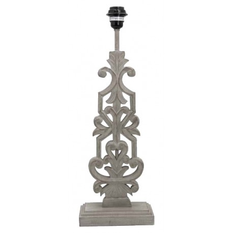 Gray flat lamp base with leaves pattern
