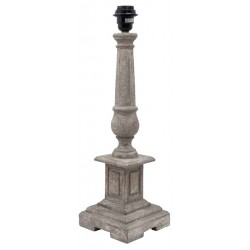 Grooved square pedestal lamp base in gray wood
