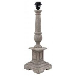 Pied de lampe piédestal carré rainuré en bois gris